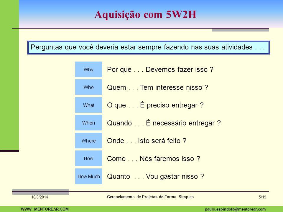 SAP Paulo Espindola 19 11 1960 paulo.espindola@mentorear.comWWW. MENTOREAR.COM Gerenciamento de Projetos de Forma Simples 16/6/2014 4/19 Restrição Tri