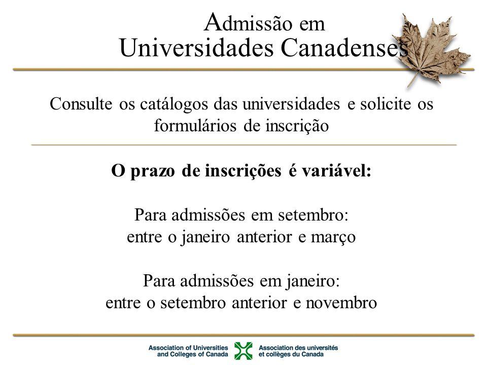 Estudo e permissão de trabalho A permissão de trabalho é exigida se estiver estudando por mais de 6 meses Diretrizes para solicitação no sítio do CIC (www.cic.gc.ca ) Certificado de Aceitação (CAQ) requerido no Quebec Trabalho para estudantes internacionais: –Possibilidade de trabalho no campus –Trabalho fora do campus no máximo de 20h/semana se estiver matriculado em uma instituição participante ou em programas privados aprovados –Permissões de trabalho disponíveis por um período de até três anos para recém formados