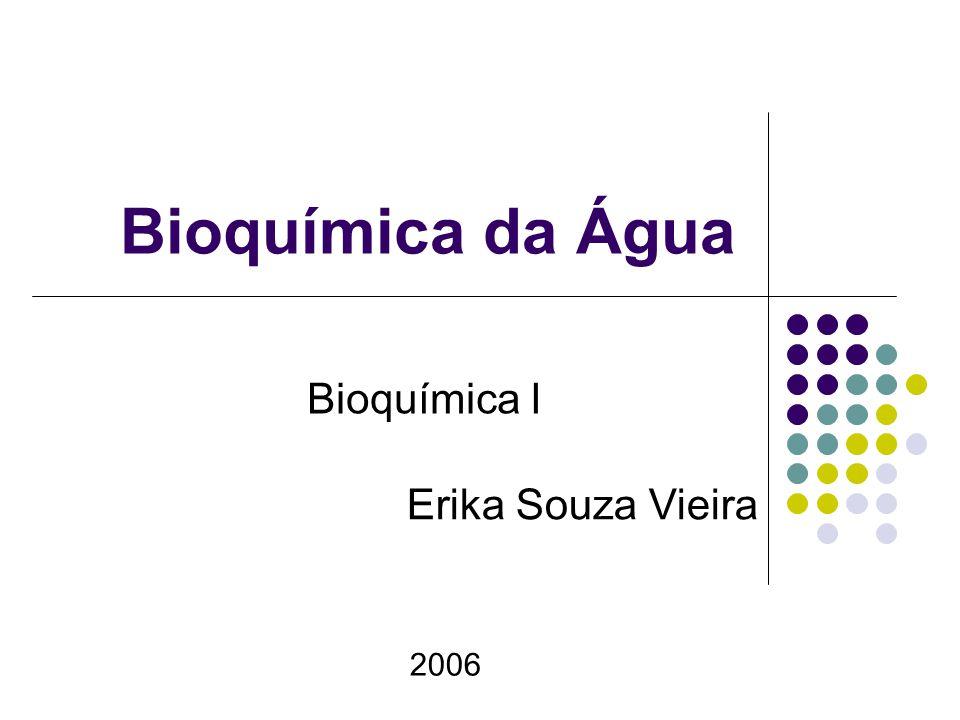 Bioquímica da Água Bioquímica I 2006 Erika Souza Vieira