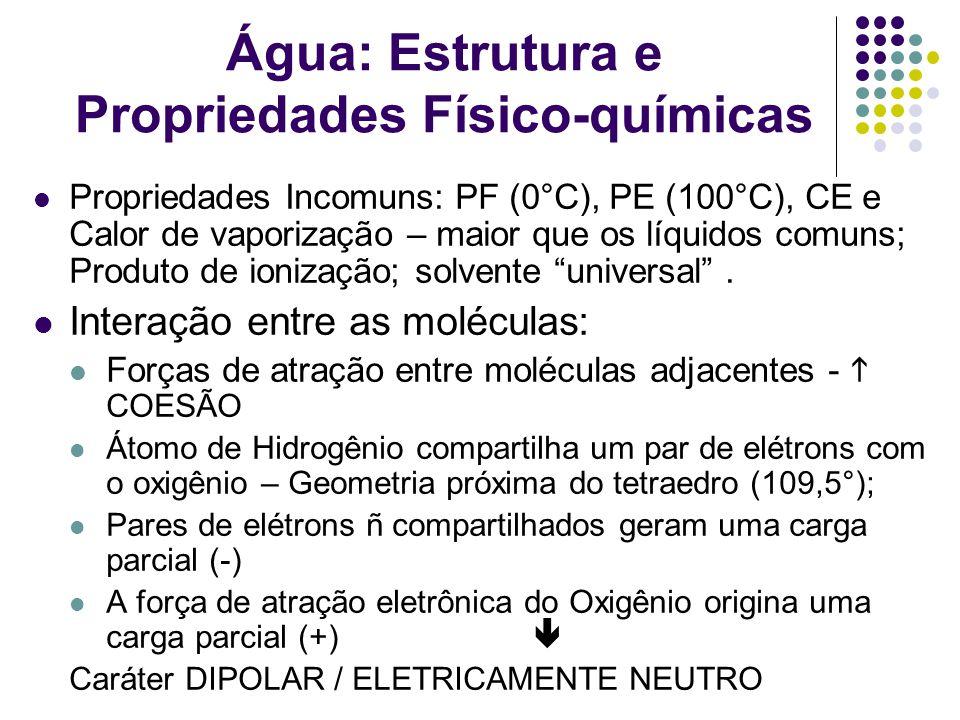 Água: Estrutura e Propriedades Físico-químicas Propriedades Incomuns: PF (0°C), PE (100°C), CE e Calor de vaporização – maior que os líquidos comuns;