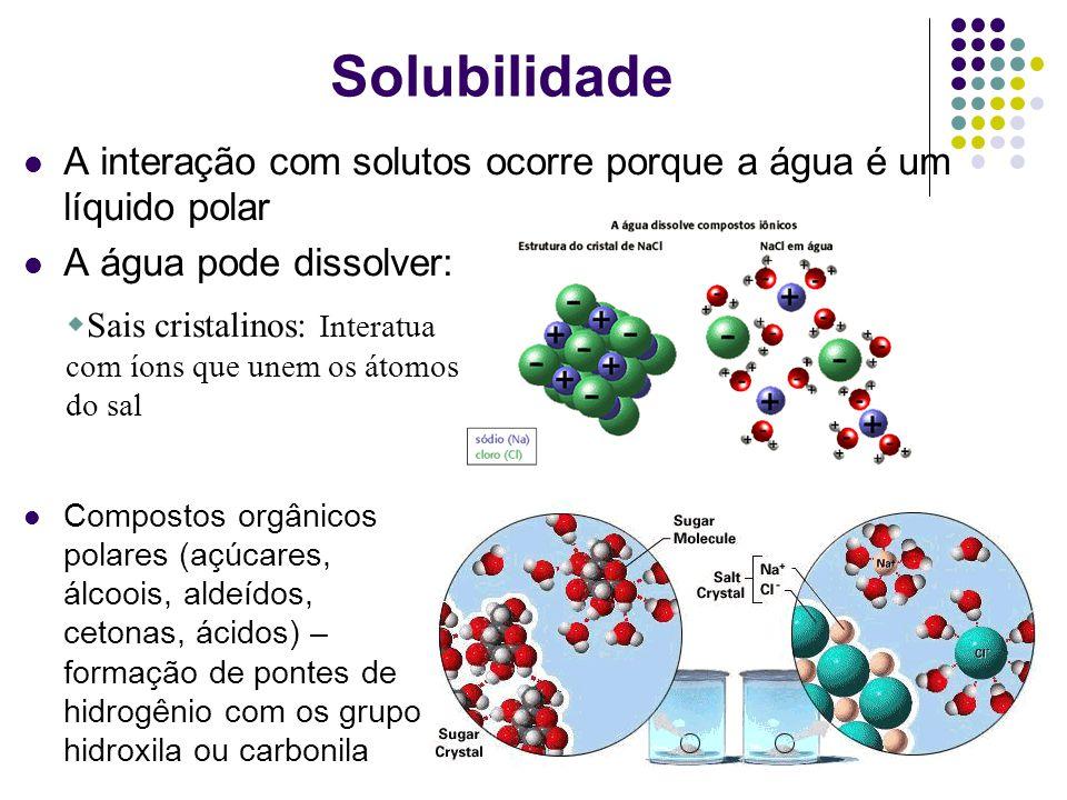 A interação com solutos ocorre porque a água é um líquido polar A água pode dissolver: Sais cristalinos: Interatua com íons que unem os átomos do sal