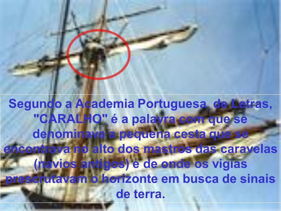 Segundo a Academia Portuguesa de Letras, CARALHO é a palavra com que se denominava a pequena cesta que se encontrava no alto dos mastros das caravelas (navios antigos) e de onde os vigias prescrutavam o horizonte em busca de sinais de terra.