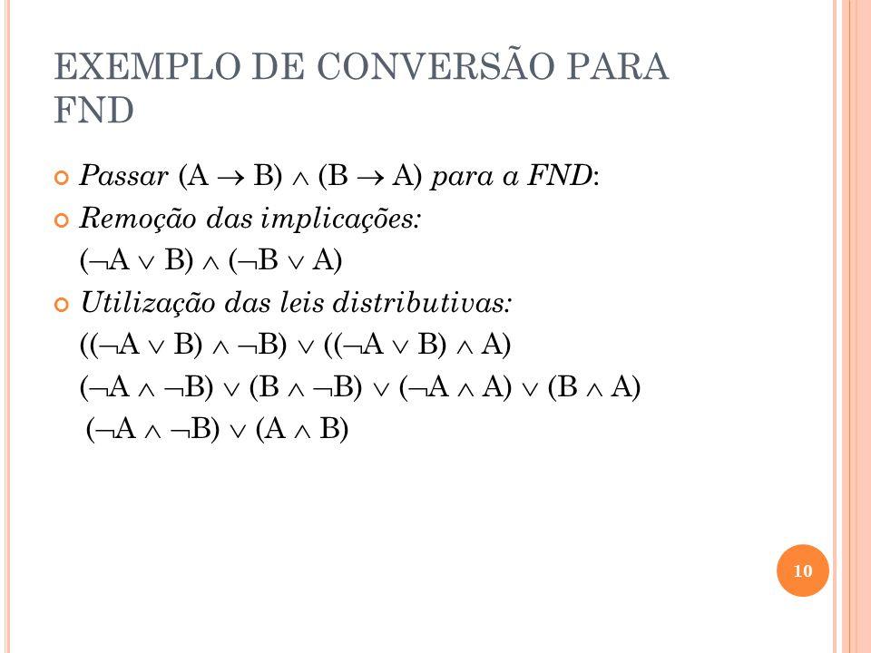 EXEMPLO DE CONVERSÃO PARA FND Passar (A B) (B A) para a FND : Remoção das implicações: ( A B) ( B A) Utilização das leis distributivas: (( A B) B) ((