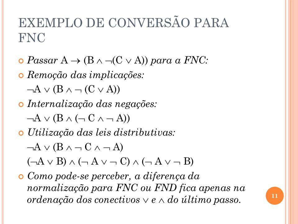 EXEMPLO DE CONVERSÃO PARA FNC Passar A (B (C A)) para a FNC: Remoção das implicações: A (B (C A)) Internalização das negações: A (B ( C A)) Utilização