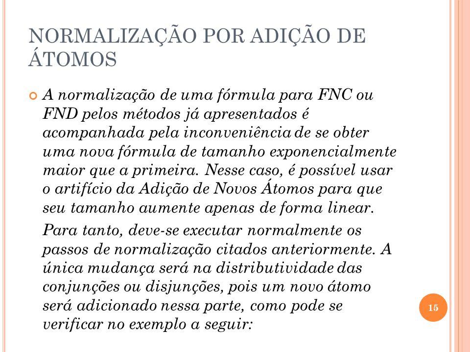 NORMALIZAÇÃO POR ADIÇÃO DE ÁTOMOS A normalização de uma fórmula para FNC ou FND pelos métodos já apresentados é acompanhada pela inconveniência de se