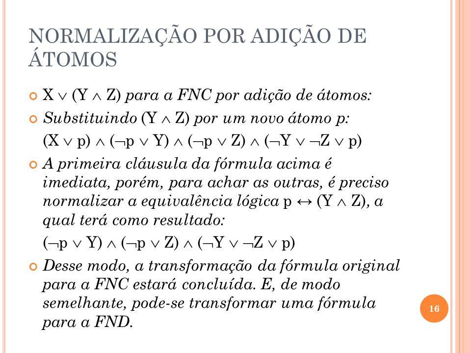 NORMALIZAÇÃO POR ADIÇÃO DE ÁTOMOS X (Y Z) para a FNC por adição de átomos: Substituindo (Y Z) por um novo átomo p: (X p) ( p Y) ( p Z) ( Y Z p) A prim