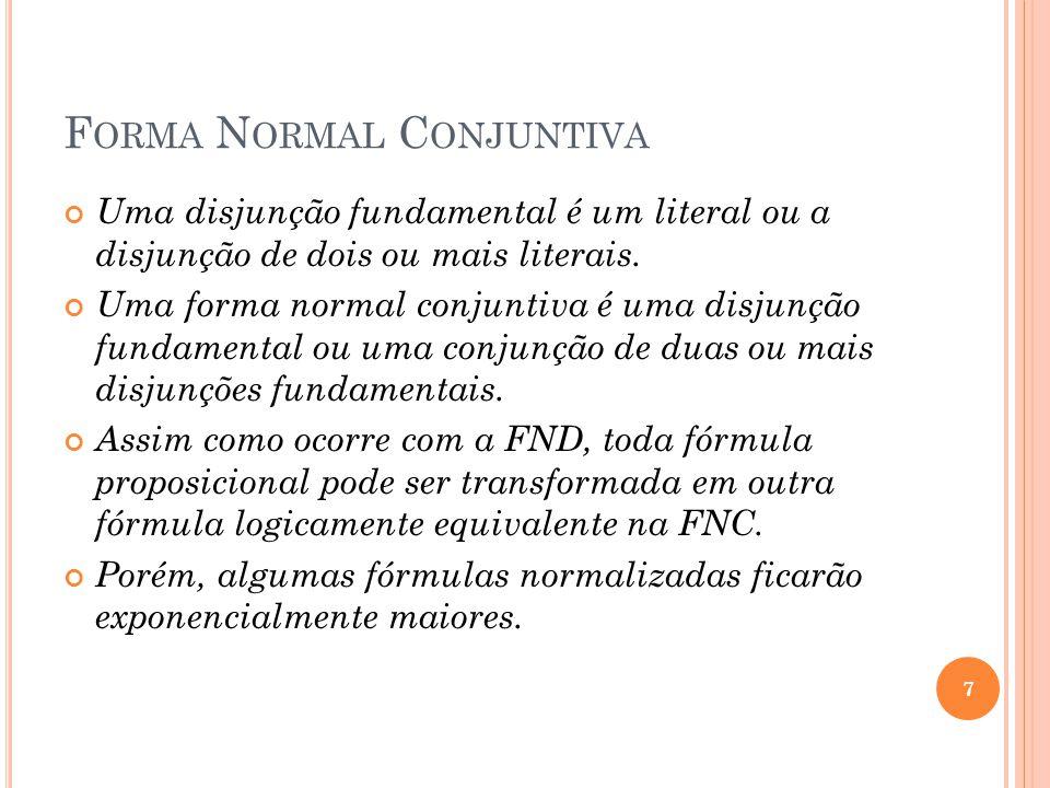 F ORMA N ORMAL C ONJUNTIVA Uma disjunção fundamental é um literal ou a disjunção de dois ou mais literais. Uma forma normal conjuntiva é uma disjunção