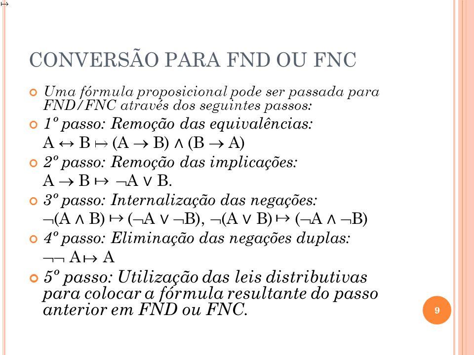CONVERSÃO PARA FND OU FNC Uma fórmula proposicional pode ser passada para FND/FNC através dos seguintes passos: 1º passo: Remoção das equivalências: A