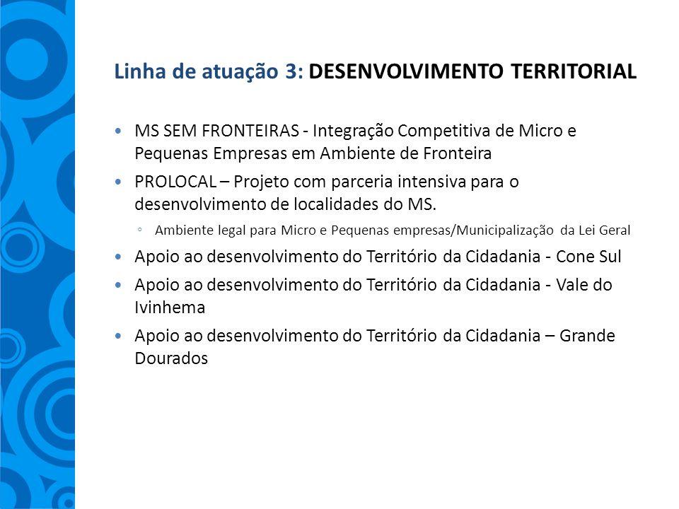 Linha de atuação 3: DESENVOLVIMENTO TERRITORIAL MS SEM FRONTEIRAS - Integração Competitiva de Micro e Pequenas Empresas em Ambiente de Fronteira PROLO