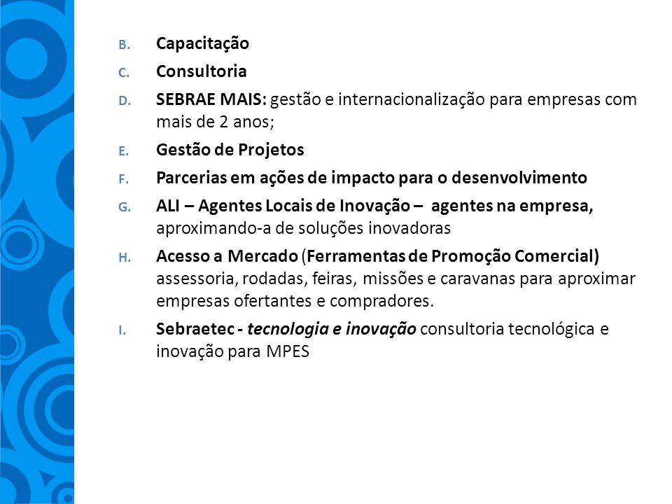 B. Capacitação C. Consultoria D. SEBRAE MAIS: gestão e internacionalização para empresas com mais de 2 anos; E. Gestão de Projetos F. Parcerias em açõ