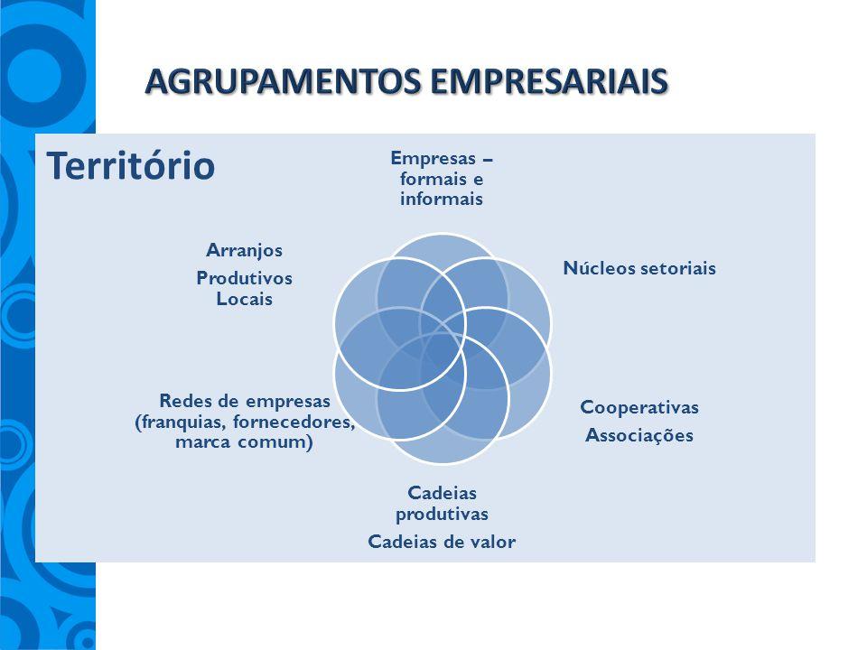 Empresas – formais e informais Núcleos setoriais Cooperativas Associações Cadeias produtivas Cadeias de valor Redes de empresas (franquias, fornecedor