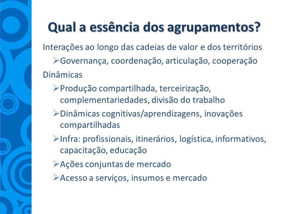 Interações ao longo das cadeias de valor e dos territórios Governança, coordenação, articulação, cooperação Dinâmicas Produção compartilhada, terceiri