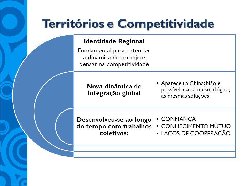 Identidade Regional Fundamental para entender a dinâmica do arranjo e pensar na competitividade Nova dinâmica de integração global Desenvolveu-se ao l