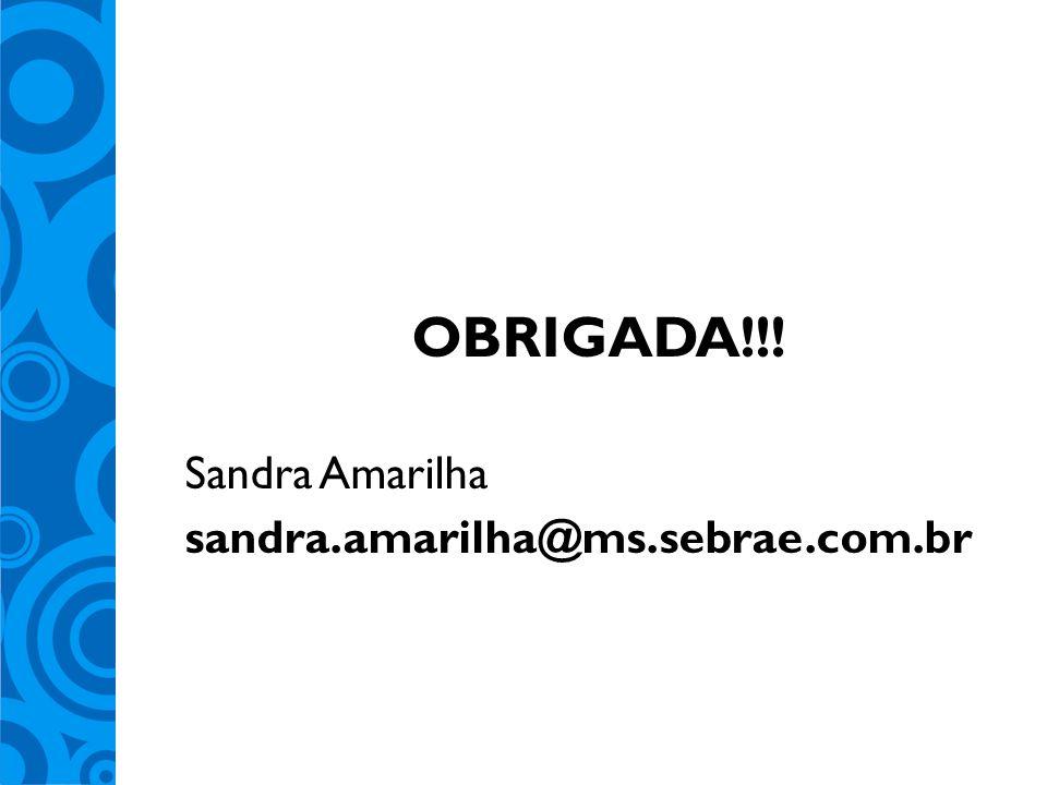 OBRIGADA!!! Sandra Amarilha sandra.amarilha@ms.sebrae.com.br