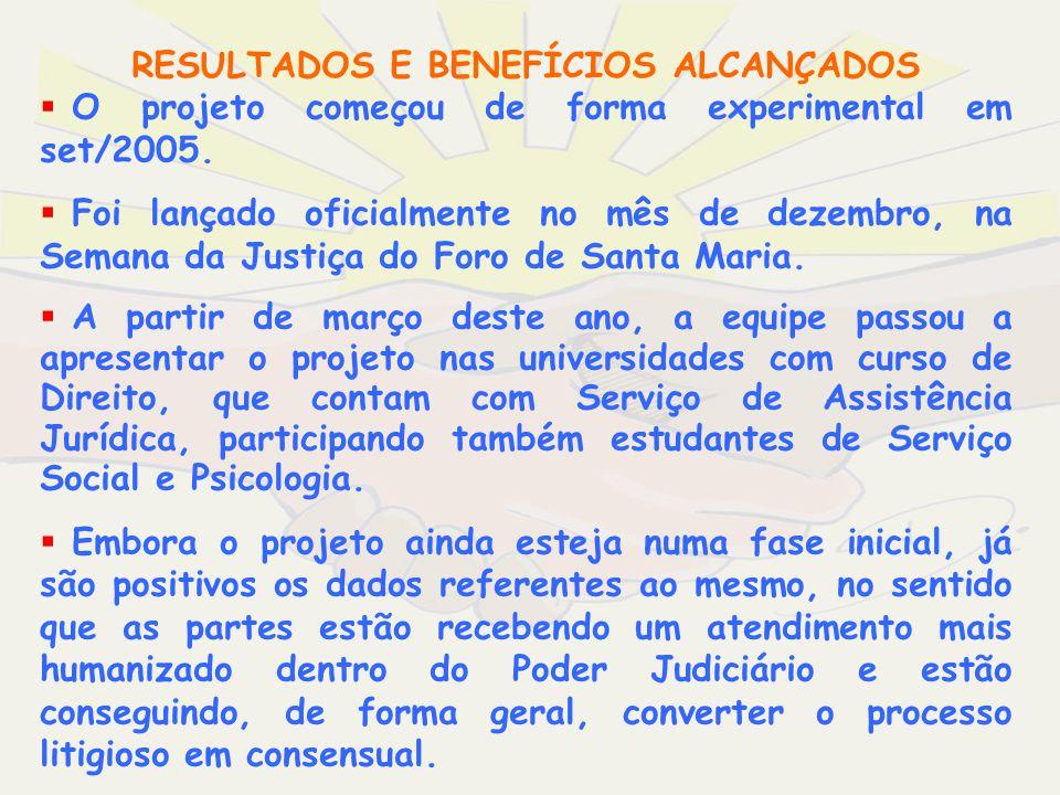 O projeto começou de forma experimental em set/2005. Foi lançado oficialmente no mês de dezembro, na Semana da Justiça do Foro de Santa Maria. A parti