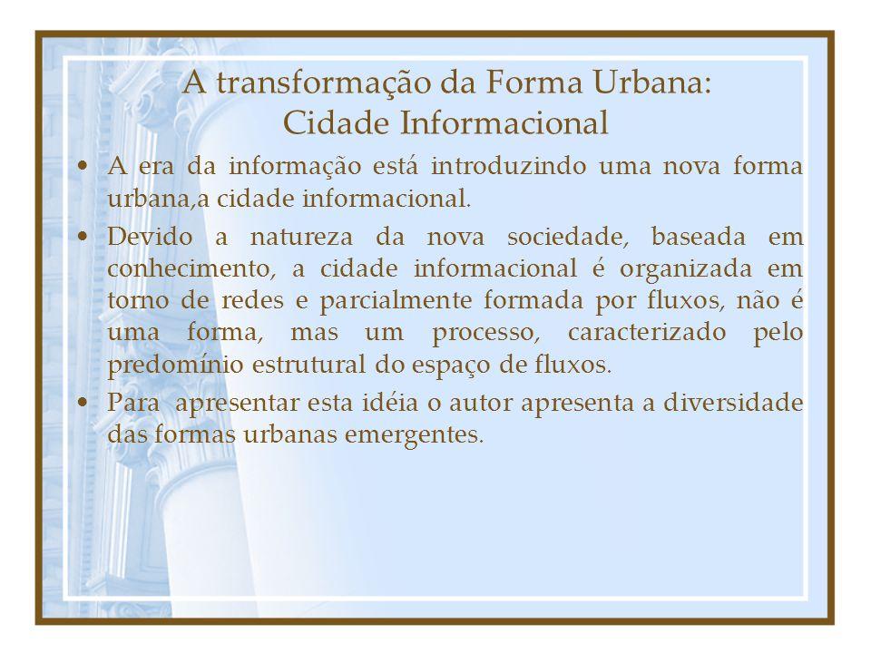A transformação da Forma Urbana: Cidade Informacional A era da informação está introduzindo uma nova forma urbana,a cidade informacional.