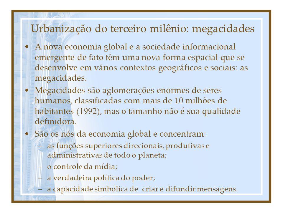 Urbanização do terceiro milênio: megacidades A nova economia global e a sociedade informacional emergente de fato têm uma nova forma espacial que se desenvolve em vários contextos geográficos e sociais: as megacidades.
