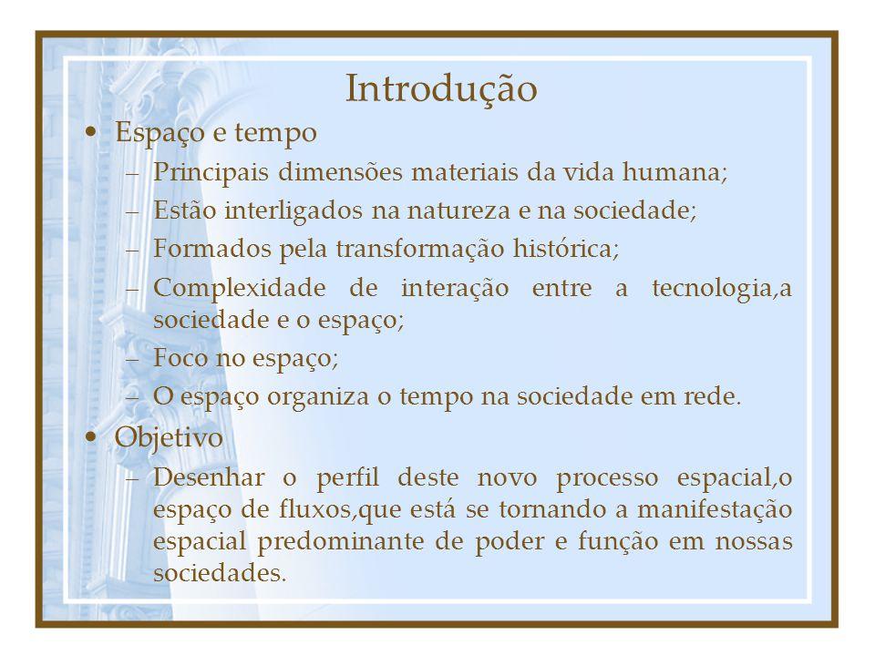 Introdução Espaço e tempo –Principais dimensões materiais da vida humana; –Estão interligados na natureza e na sociedade; –Formados pela transformação histórica; –Complexidade de interação entre a tecnologia,a sociedade e o espaço; –Foco no espaço; –O espaço organiza o tempo na sociedade em rede.