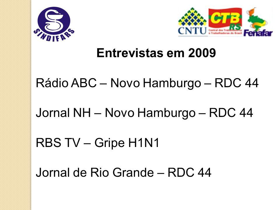 Entrevistas em 2009 Rádio ABC – Novo Hamburgo – RDC 44 Jornal NH – Novo Hamburgo – RDC 44 RBS TV – Gripe H1N1 Jornal de Rio Grande – RDC 44