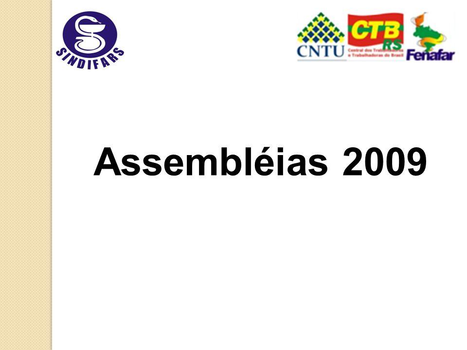 Assembléias Campanha Salarial 2009 O Sindifars realizou no ano de 2009 seis assembléias para apreciação da pauta de reivindicações pela categoria farmacêutica: Passo Fundo – (2705) Pelotas – (2805) POA - 0206 (sede); 0406(ICD);0806(HCPA); Caxias do Sul (2005)