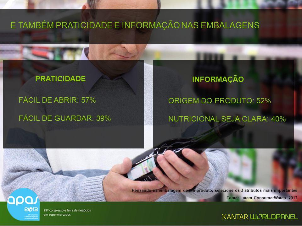 © Kantar Worldpanel 24 E TAMBÉM PRATICIDADE E INFORMAÇÃO NAS EMBALAGENS Pensando na embalagem de um produto, selecione os 3 atributos mais importantes