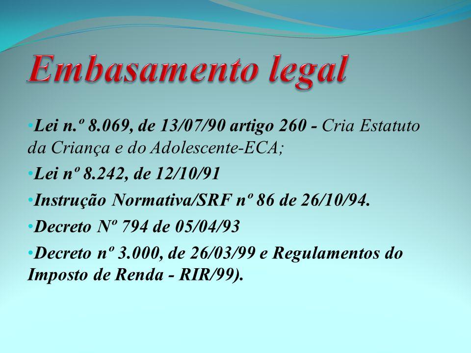 Lei n.º 8.069, de 13/07/90 artigo 260 - Cria Estatuto da Criança e do Adolescente-ECA; Lei nº 8.242, de 12/10/91 Instrução Normativa/SRF nº 86 de 26/10/94.