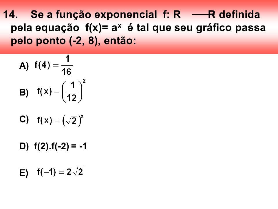 14.Se a função exponencial f: R R definida pela equação f(x)= a x é tal que seu gráfico passa pelo ponto (-2, 8), então: A) B) C) D) f(2).f(-2) = -1 E