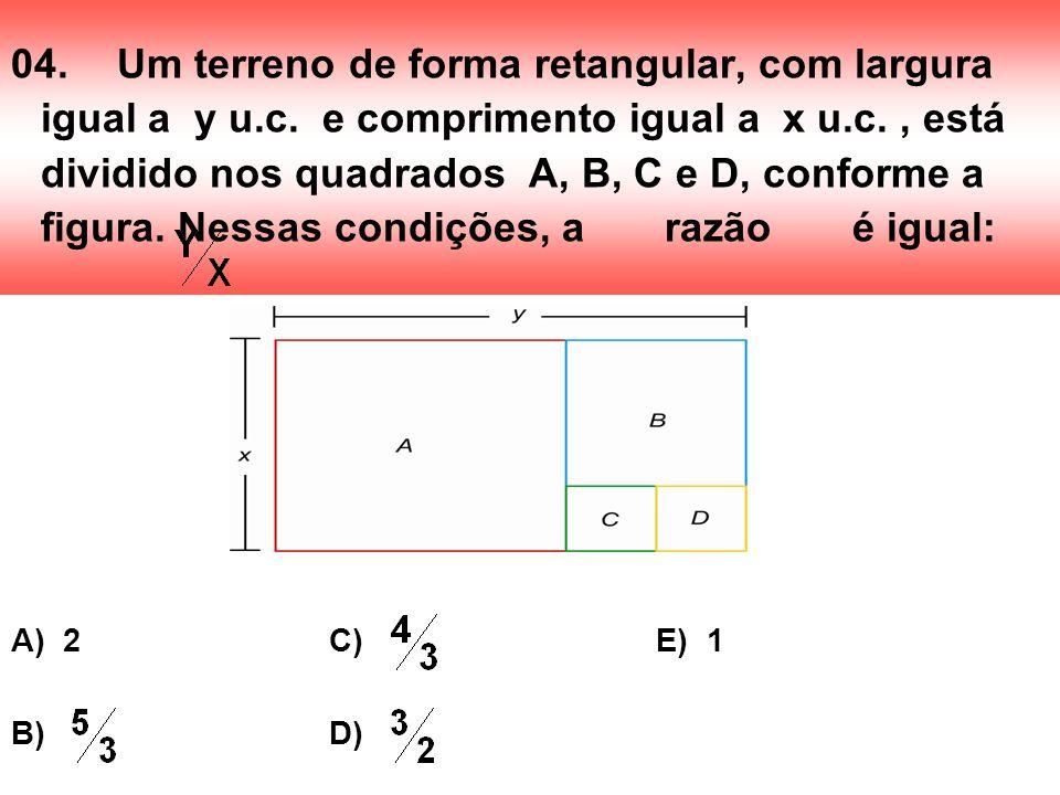 04.Um terreno de forma retangular, com largura igual a y u.c. e comprimento igual a x u.c., está dividido nos quadrados A, B, C e D, conforme a figura