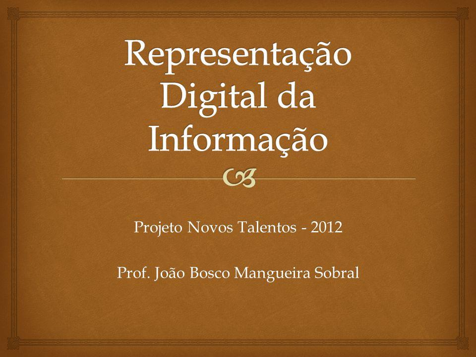 1000 8 1001 9 1010 A 10 1011 B 11 1100 C 12 1101 D 13 1110 E 14 1111 F 15 Representação dos inteiros de 0 a 15 em base 2.