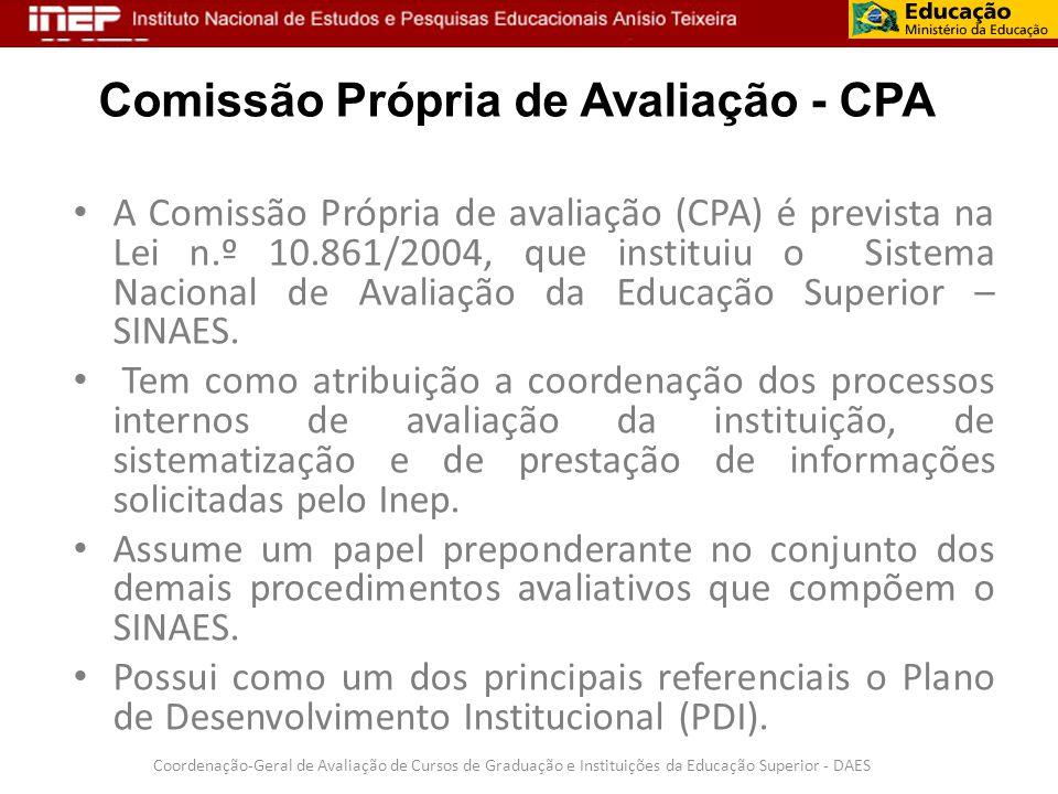 Comissão Própria de Avaliação - CPA A Comissão Própria de avaliação (CPA) é prevista na Lei n.º 10.861/2004, que instituiu o Sistema Nacional de Avali