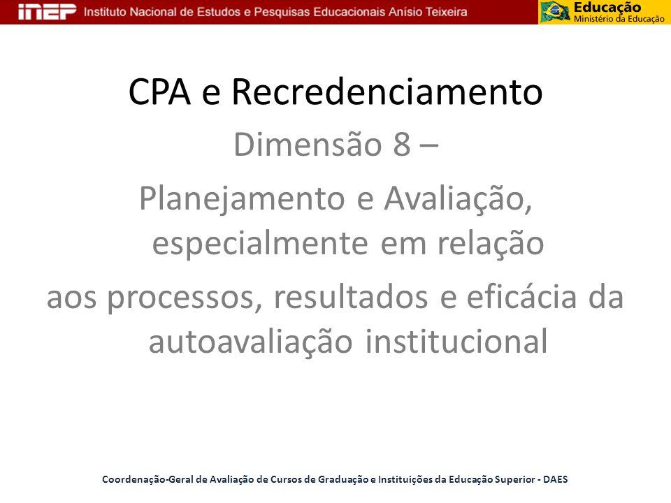 CPA e Recredenciamento Coordenação-Geral de Avaliação de Cursos de Graduação e Instituições da Educação Superior - DAES Dimensão 8 – Planejamento e Av