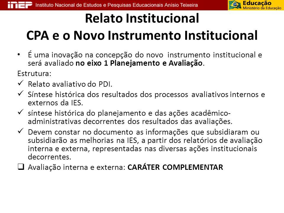 Relato Institucional CPA e o Novo Instrumento Institucional É uma inovação na concepção do novo instrumento institucional e será avaliado no eixo 1 Pl