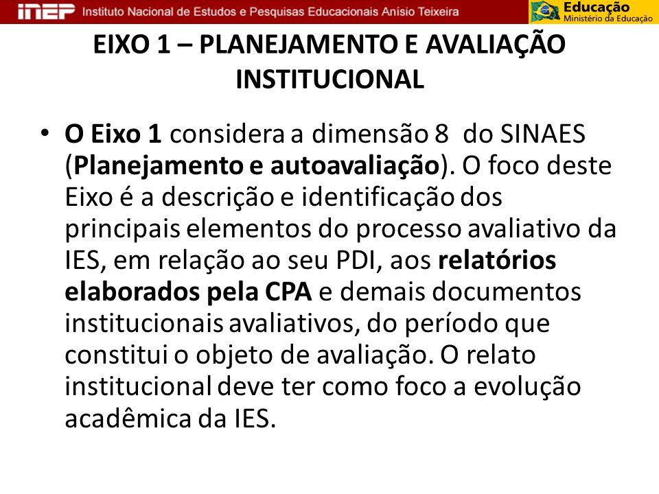 EIXO 1 – PLANEJAMENTO E AVALIAÇÃO INSTITUCIONAL O Eixo 1 considera a dimensão 8 do SINAES (Planejamento e autoavaliação). O foco deste Eixo é a descri