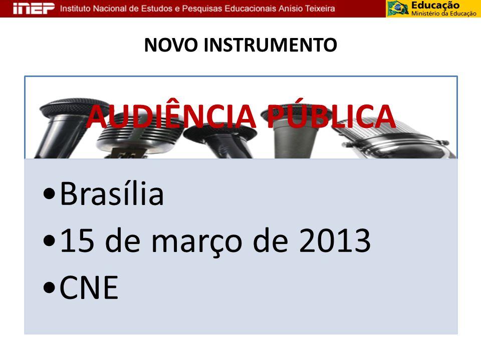 NOVO INSTRUMENTO AUDIÊNCIA PÚBLICA Brasília 15 de março de 2013 CNE