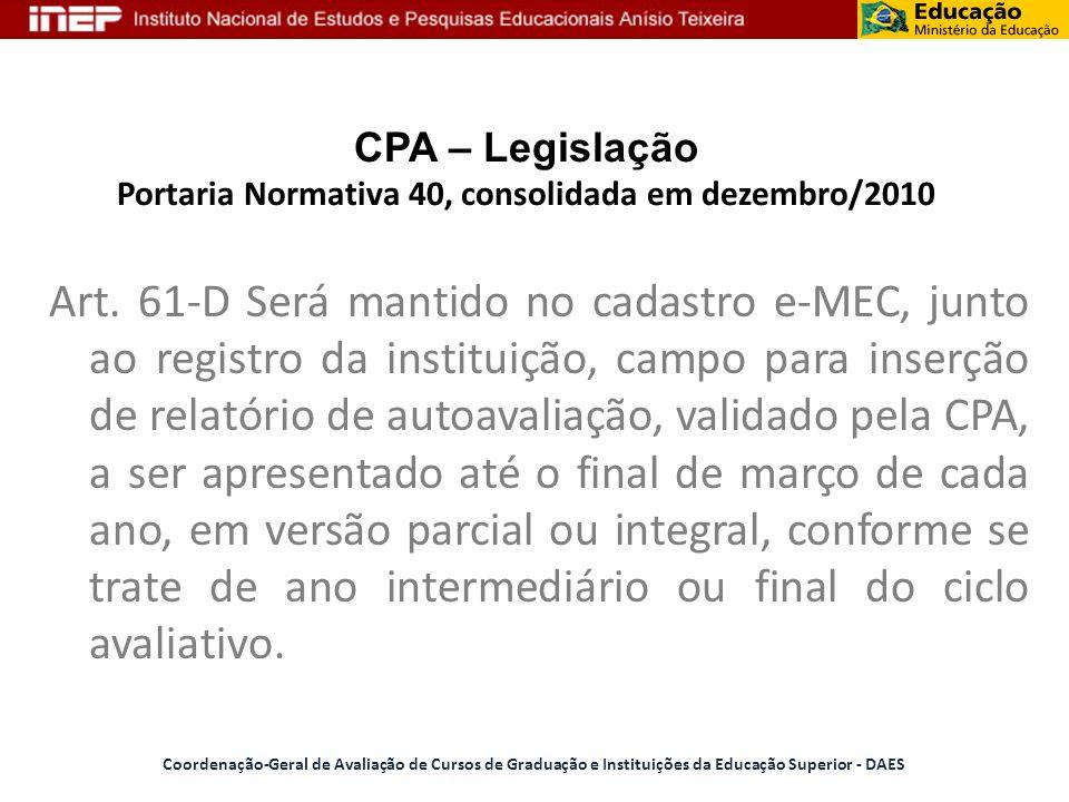 CPA – Legislação Portaria Normativa 40, consolidada em dezembro/2010 Art. 61-D Será mantido no cadastro e-MEC, junto ao registro da instituição, campo