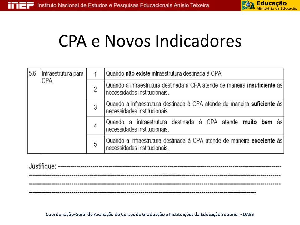 CPA e Novos Indicadores Coordenação-Geral de Avaliação de Cursos de Graduação e Instituições da Educação Superior - DAES