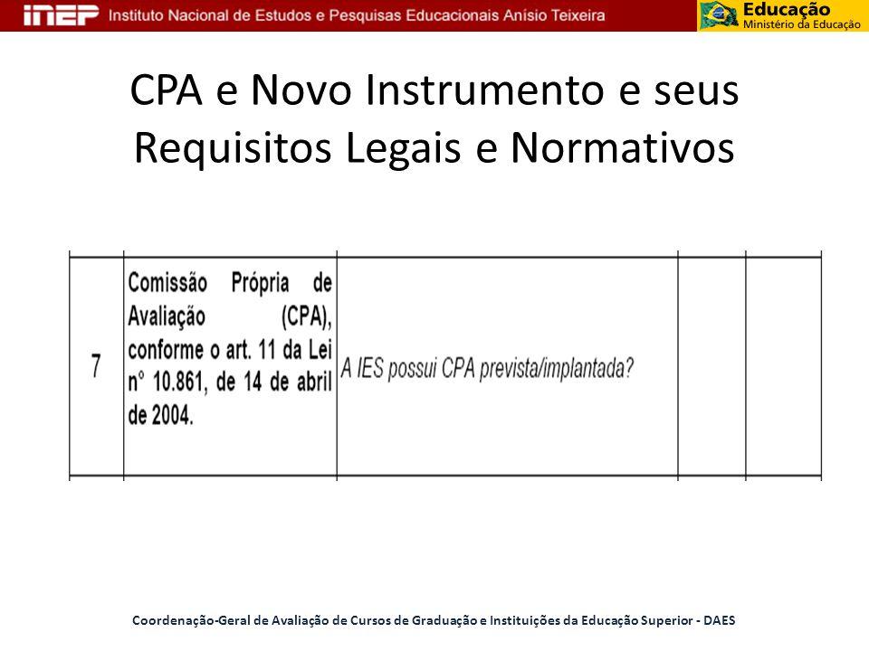 CPA e Novo Instrumento e seus Requisitos Legais e Normativos Coordenação-Geral de Avaliação de Cursos de Graduação e Instituições da Educação Superior