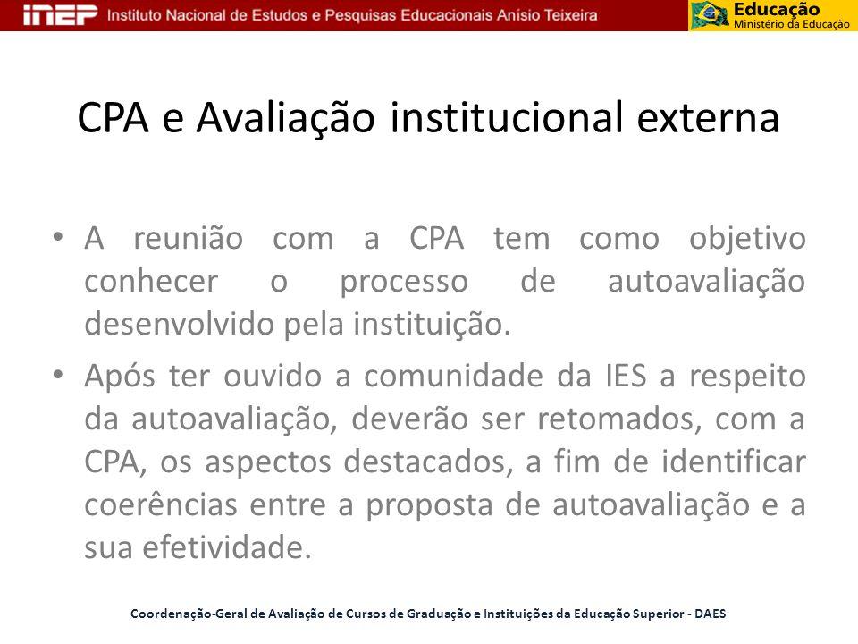CPA e Avaliação institucional externa Coordenação-Geral de Avaliação de Cursos de Graduação e Instituições da Educação Superior - DAES A reunião com a