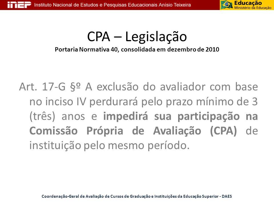 CPA – Legislação Portaria Normativa 40, consolidada em dezembro de 2010 Art. 17-G §º A exclusão do avaliador com base no inciso IV perdurará pelo praz
