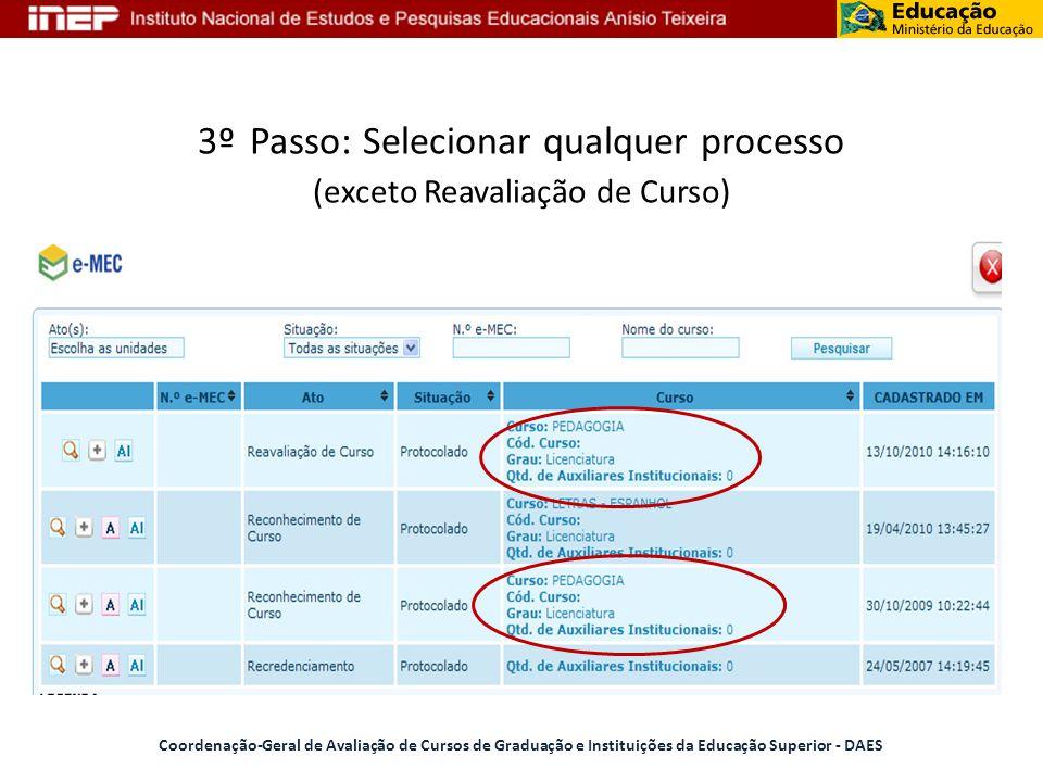 3º Passo: Selecionar qualquer processo (exceto Reavaliação de Curso) Coordenação-Geral de Avaliação de Cursos de Graduação e Instituições da Educação