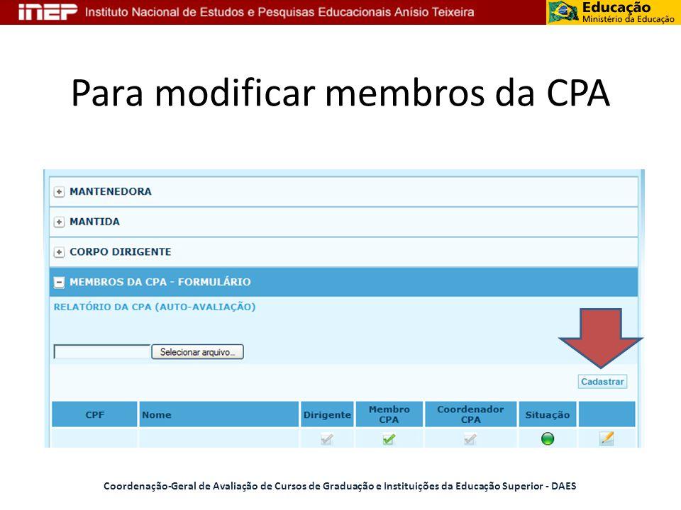 Para modificar membros da CPA Coordenação-Geral de Avaliação de Cursos de Graduação e Instituições da Educação Superior - DAES