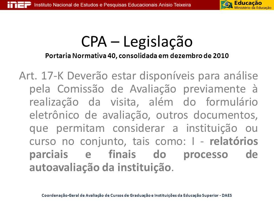 CPA – Legislação Portaria Normativa 40, consolidada em dezembro de 2010 Art. 17-K Deverão estar disponíveis para análise pela Comissão de Avaliação pr