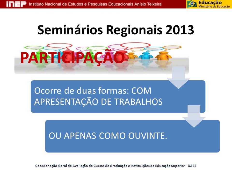 Seminários Regionais 2013 PARTICIPAÇÃO Ocorre de duas formas: COM APRESENTAÇÃO DE TRABALHOS OU APENAS COMO OUVINTE. Coordenação-Geral de Avaliação de