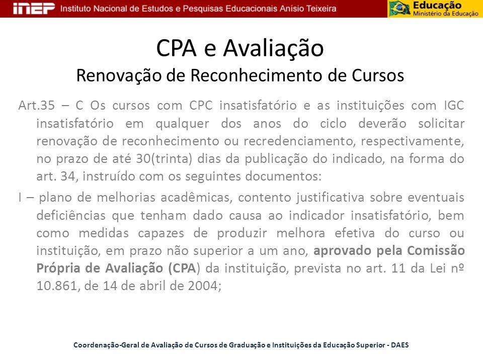 CPA e Avaliação Renovação de Reconhecimento de Cursos Coordenação-Geral de Avaliação de Cursos de Graduação e Instituições da Educação Superior - DAES