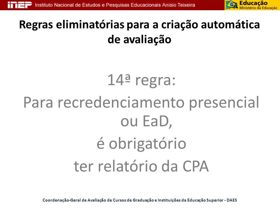 Regras eliminatórias para a criação automática de avaliação 14ª regra: Para recredenciamento presencial ou EaD, é obrigatório ter relatório da CPA Coo