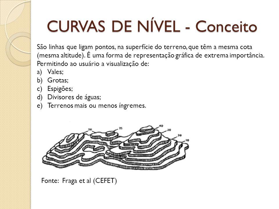 CURVAS DE NÍVEL - Conceito São linhas que ligam pontos, na superfície do terreno, que têm a mesma cota (mesma altitude). É uma forma de representação