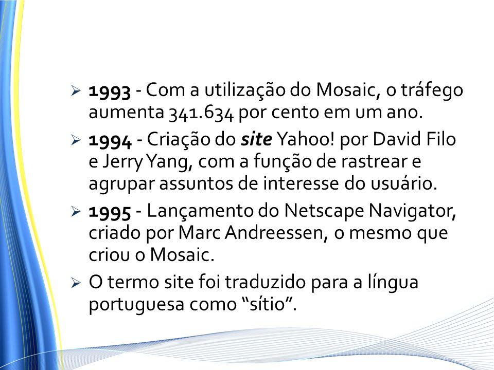 1993 - Com a utilização do Mosaic, o tráfego aumenta 341.634 por cento em um ano. 1994 - Criação do site Yahoo! por David Filo e Jerry Yang, com a fun