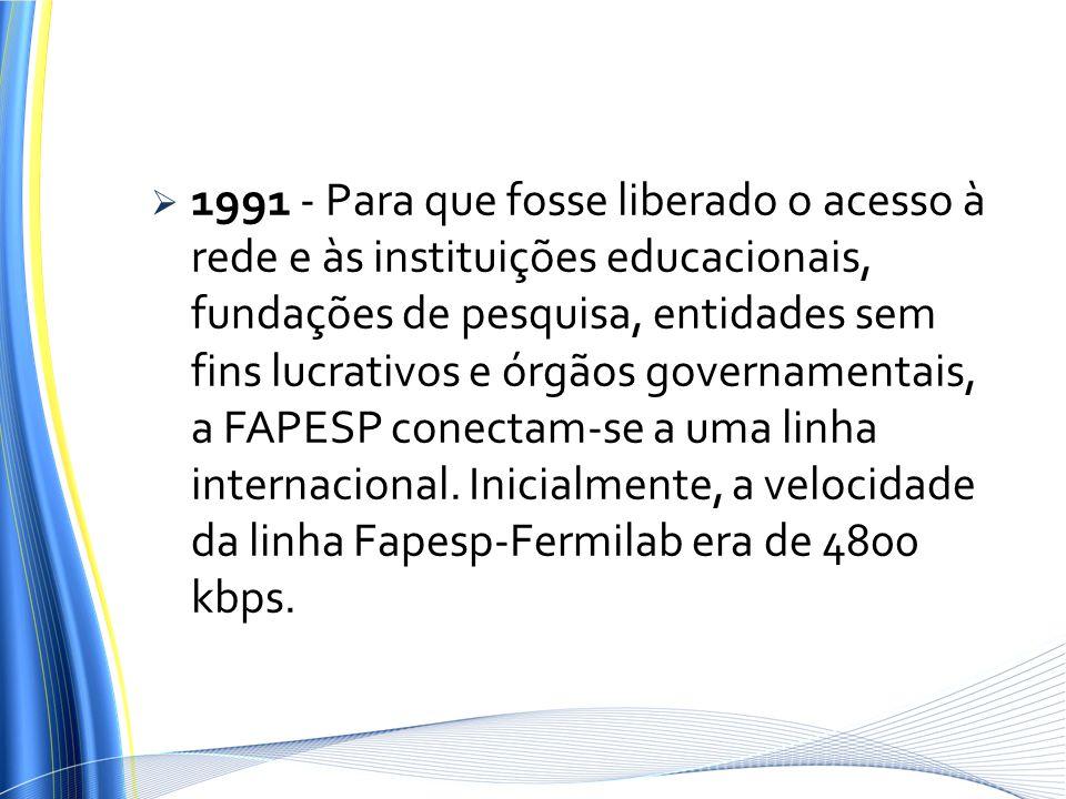 1991 - Para que fosse liberado o acesso à rede e às instituições educacionais, fundações de pesquisa, entidades sem fins lucrativos e órgãos govername