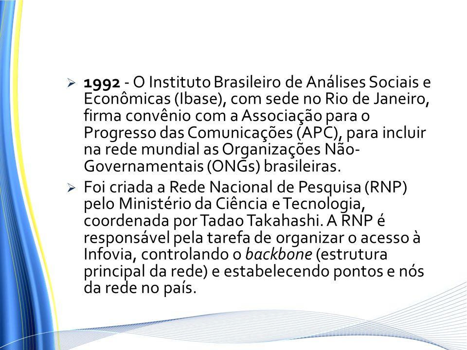 1992 - O Instituto Brasileiro de Análises Sociais e Econômicas (Ibase), com sede no Rio de Janeiro, firma convênio com a Associação para o Progresso d