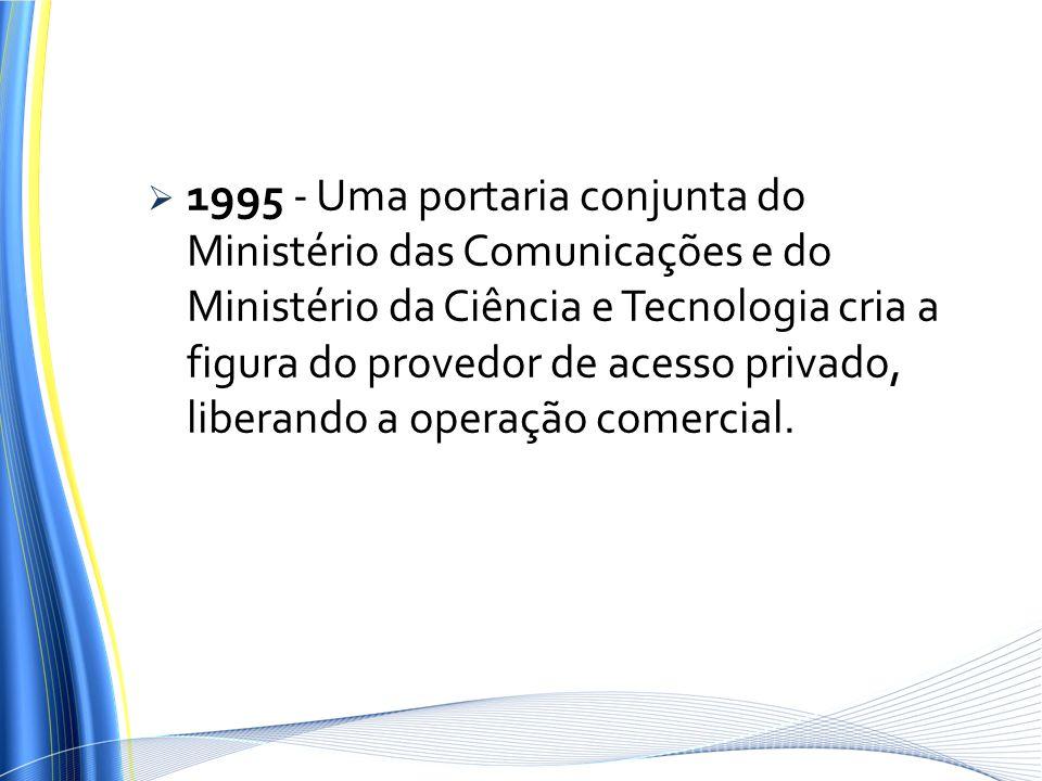 1995 - Uma portaria conjunta do Ministério das Comunicações e do Ministério da Ciência e Tecnologia cria a figura do provedor de acesso privado, liber